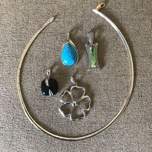 Lia Sophia lot - reversible necklace + slides
